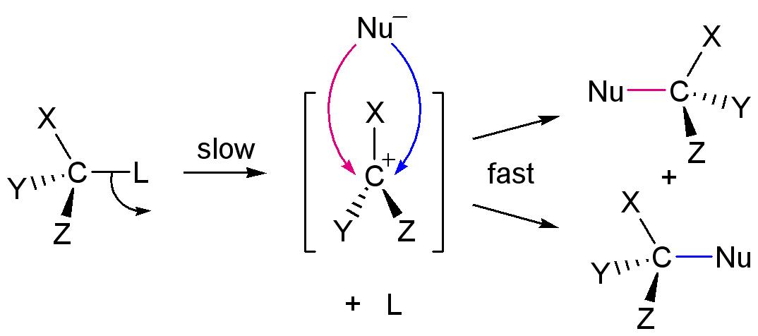 SN1 -एक अणुक नाभिक स्नेही प्रतिस्थापन :